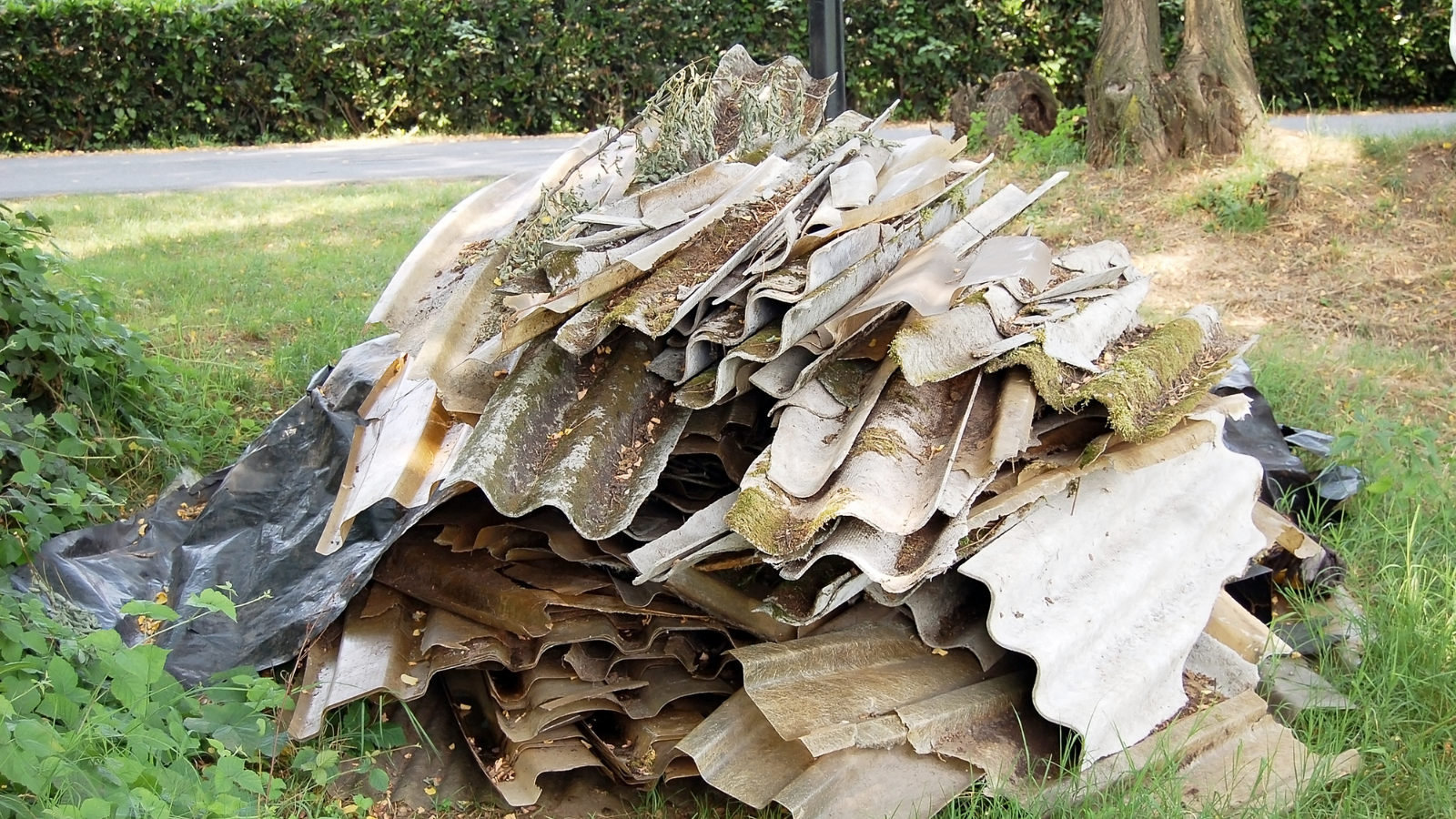 Fly-tipped asbestos waste in West Sussex