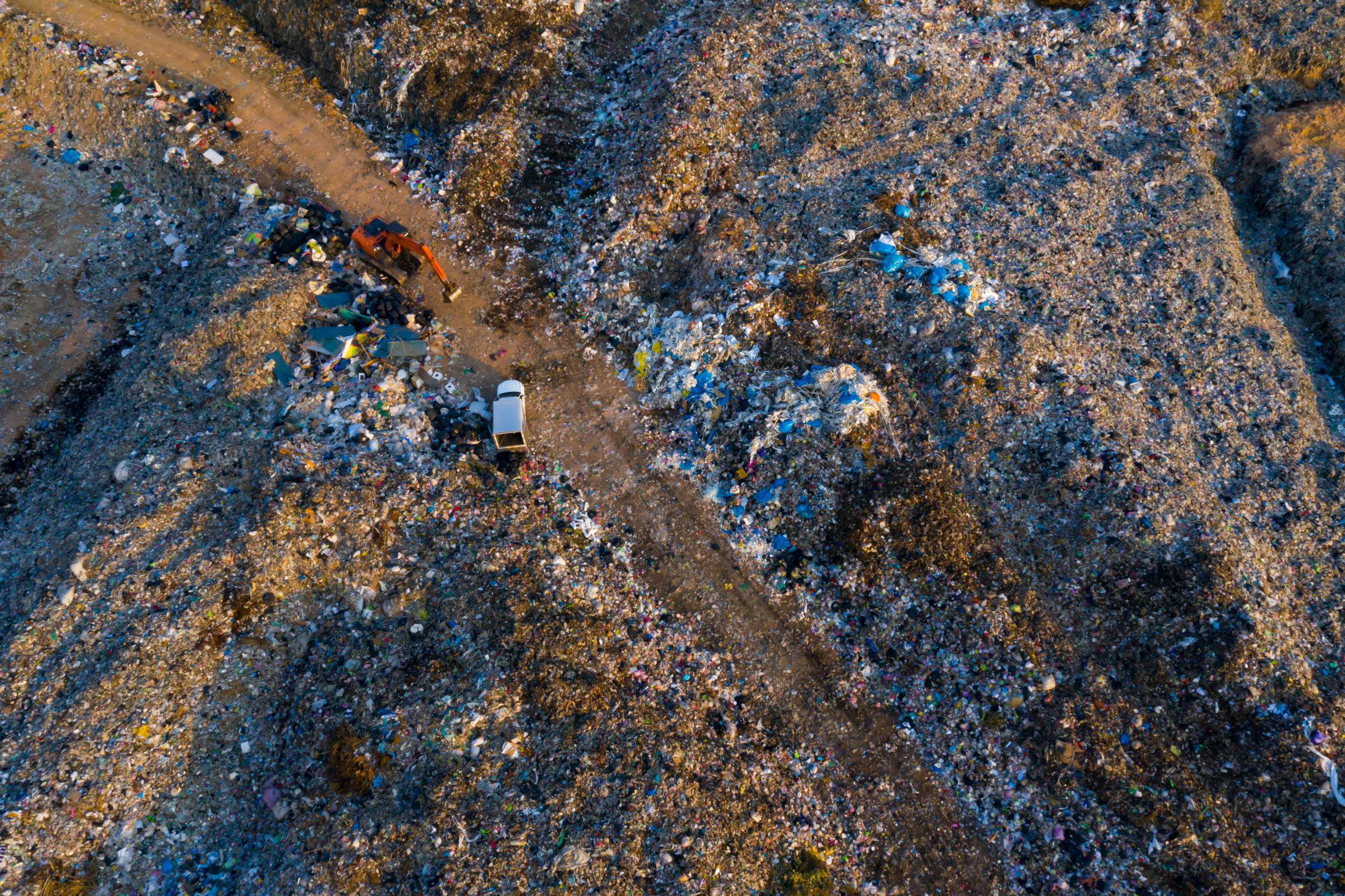 Aerial view of large contaminated land remediation project